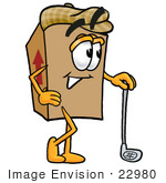 #22980 Clip Art Graphic Of A Cardboard Shipping Box Cartoon Character Leaning On A Golf Club While Golfing