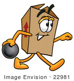 #22981 Clip Art Graphic Of A Cardboard Shipping Box Cartoon Character Holding A Bowling Ball