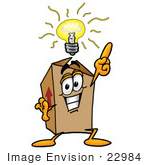 #22984 Clip Art Graphic Of A Cardboard Shipping Box Cartoon Character With A Bright Idea