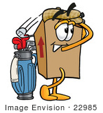 #22985 Clip Art Graphic Of A Cardboard Shipping Box Cartoon Character Swinging His Golf Club While Golfing