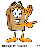 #22986 Clip Art Graphic of a Cardboard Shipping Box Cartoon Character Waving and Pointing by toons4biz