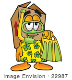 #22987 Clip Art Graphic Of A Cardboard Shipping Box Cartoon Character In Green And Yellow Snorkel Gear