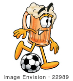 #22989 Clip Art Graphic Of A Frothy Mug Of Beer Or Soda Cartoon Character Kicking A Soccer Ball