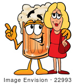 #22993 Clip Art Graphic Of A Frothy Mug Of Beer Or Soda Cartoon Character Talking To A Pretty Blond Woman