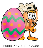 #23001 Clip Art Graphic Of A Frothy Mug Of Beer Or Soda Cartoon Character Standing Beside An Easter Egg