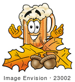 #23002 Clip art Graphic of a Frothy Mug of Beer or Soda Cartoon Character With Autumn Leaves and Acorns in the Fall by toons4biz