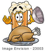 #23003 Clip Art Graphic Of A Frothy Mug Of Beer Or Soda Cartoon Character Serving A Thanksgiving Turkey On A Platter