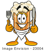 #23004 Clip Art Graphic Of A Frothy Mug Of Beer Or Soda Cartoon Character Holding A Knife And Fork