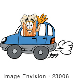 #23006 Clip Art Graphic Of A Frothy Mug Of Beer Or Soda Cartoon Character Driving A Blue Car And Waving