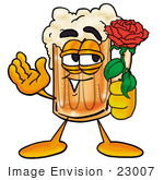 #23007 Clip Art Graphic Of A Frothy Mug Of Beer Or Soda Cartoon Character Holding A Red Rose On Valentines Day