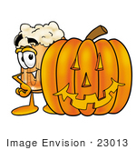#23013 Clip Art Graphic Of A Frothy Mug Of Beer Or Soda Cartoon Character With A Carved Halloween Pumpkin