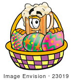 #23019 Clip Art Graphic Of A Frothy Mug Of Beer Or Soda Cartoon Character In An Easter Basket Full Of Decorated Easter Eggs