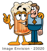 #23020 Clip Art Graphic Of A Frothy Mug Of Beer Or Soda Cartoon Character Talking To A Business Man
