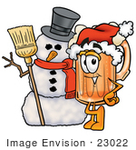#23022 Clip Art Graphic Of A Frothy Mug Of Beer Or Soda Cartoon Character With A Snowman On Christmas
