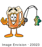 #23023 Clip Art Graphic Of A Frothy Mug Of Beer Or Soda Cartoon Character Holding A Fish On A Fishing Pole