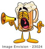 #23024 Clip Art Graphic Of A Frothy Mug Of Beer Or Soda Cartoon Character Screaming Into A Megaphone