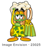 #23025 Clip Art Graphic Of A Frothy Mug Of Beer Or Soda Cartoon Character In Green And Yellow Snorkel Gear