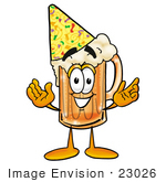 #23026 Clip Art Graphic Of A Frothy Mug Of Beer Or Soda Cartoon Character Wearing A Birthday Party Hat