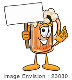 #23030 Clip Art Graphic Of A Frothy Mug Of Beer Or Soda Cartoon Character Holding A Blank Sign