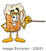#23031 Clip Art Graphic Of A Frothy Mug Of Beer Or Soda Cartoon Character Holding A Pointer Stick