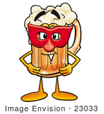 #23033 Clip Art Graphic Of A Frothy Mug Of Beer Or Soda Cartoon Character Wearing A Red Mask Over His Face