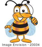 #23034 Clip Art Graphic Of A Honey Bee Cartoon Character Looking Through A Magnifying Glass