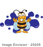 #23035 Clip Art Graphic Of A Honey Bee Cartoon Character Logo With Blue Paint Splatter
