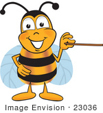 #23036 Clip Art Graphic Of A Honey Bee Cartoon Character Holding A Pointer Stick