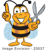 #23037 Clip Art Graphic Of A Honey Bee Cartoon Character Holding A Pair Of Scissors