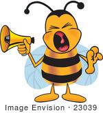 #23039 Clip Art Graphic Of A Honey Bee Cartoon Character Screaming Into A Megaphone