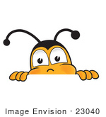 #23040 Clip Art Graphic Of A Honey Bee Cartoon Character Peeking Over A Surface