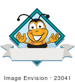 #23041 Clip Art Graphic Of A Honey Bee Cartoon Character Label
