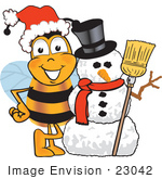 #23042 Clip Art Graphic Of A Honey Bee Cartoon Character With A Snowman On Christmas
