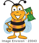 #23043 Clip Art Graphic Of A Honey Bee Cartoon Character Holding A Dollar Bill