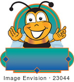 #23044 Clip Art Graphic Of A Honey Bee Cartoon Character Logo