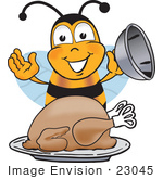 #23045 Clip Art Graphic Of A Honey Bee Cartoon Character Serving A Thanksgiving Turkey On A Platter