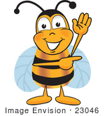 #23046 Clip Art Graphic Of A Honey Bee Cartoon Character Waving And Pointing