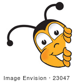 #23047 Clip Art Graphic Of A Honey Bee Cartoon Character Peeking Around A Corner