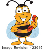 #23049 Clip Art Graphic Of A Honey Bee Cartoon Character Holding A Telephone