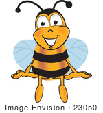 #23050 Clip Art Graphic Of A Honey Bee Cartoon Character Sitting