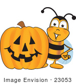 #23053 Clip Art Graphic Of A Honey Bee Cartoon Character With A Carved Halloween Pumpkin