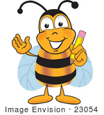 #23054 Clip Art Graphic Of A Honey Bee Cartoon Character Holding A Pencil