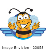 #23058 Clip Art Graphic Of A Honey Bee Cartoon Character Logo