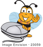 #23059 Clip Art Graphic Of A Honey Bee Cartoon Character With A Computer Mouse