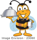#23060 Clip Art Graphic Of A Honey Bee Cartoon Character Dressed As A Waiter And Holding A Serving Platter