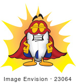 #23064 Clip Art Graphic Of A Dirigible Blimp Airship Cartoon Character Dressed As A Super Hero