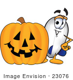 #23076 Clip Art Graphic Of A Dirigible Blimp Airship Cartoon Character With A Carved Halloween Pumpkin