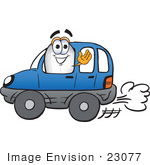 #23077 Clip Art Graphic Of A Dirigible Blimp Airship Cartoon Character Driving A Blue Car And Waving