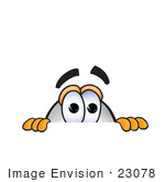 #23078 Clip Art Graphic Of A Dirigible Blimp Airship Cartoon Character Peeking Over A Surface