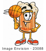 #23088 Clip Art Graphic Of A Frothy Mug Of Beer Or Soda Cartoon Character Spinning A Basketball On His Finger